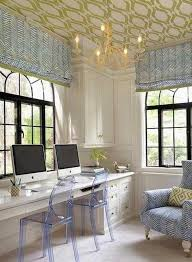 wallpapered office home design. i like the contrast between green of wallpaper on ceiling and blue wallpapered office home design