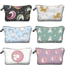 Cartoon <b>Polyester</b> Unicorn <b>Donut Pattern</b> Makeup Bag | Shopee ...