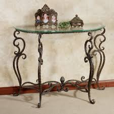 unique foyer tables. Antique And Vintage Half Moon Glass Console Table With Unique Metal Legs Ideas Foyer Tables