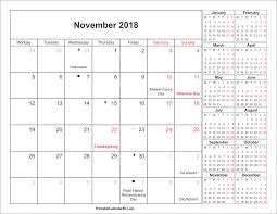 November 2018 Calendar Moon Phases