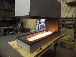 linear gas fireplace. Custom Linear Peninsula Gas Fireplace
