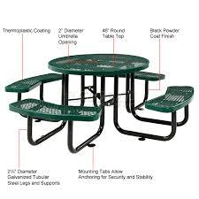 Round outdoor metal table Patio Top Constructionsteel Stylestandard Table Shaperound Mount Typesurface Capacity Per Seat300lbs Global Industrial Benches Picnic Tables Picnic Tables Steel 46quot Round