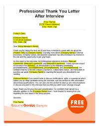 thank you after an interview after interview thank you letters samples free ms word