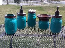 cream and brown bathroom accessories. ball mason jar bathroom set - turquoise blue and brown full or choose cream accessories