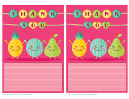 Cute Fruit Printable Thank You Note Paper For Kids - Free Printable ...