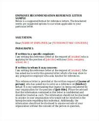 Employer Reference Recommendation Letter Graduate Sample