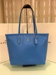 Coach Large Zip Top City Tote Shoulder Bag Crossgrain Leather Azure Blue   Coach  TotesShoppers