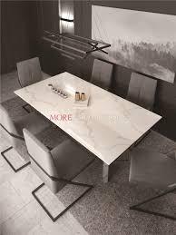 China Custom White Calacatta Quartz Stone Top Dining Table For Sale