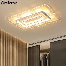 <b>Omicron Modern LED</b> Square Rectangle Chandelier White Bedroom ...