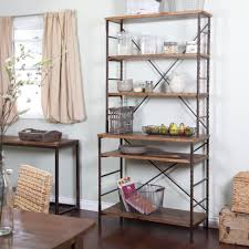 Kitchen, Impressive Small Kitchen Storage Ideas Several Wooden Shelving  Placed In Metallic Twister Frames Next
