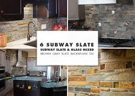 subway slate glass mix backsplash ideas