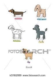 cute cartoon dogs of various breeds
