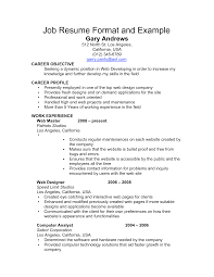 Example Of A Work Resume Resume Templates