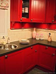 black and red kitchen designs. Black+cabinets+black+appliances+red+walls+kitchen | Kitchens Featuring Red Kitchen Cabinets In Traditional Styles. Take A Black And Designs
