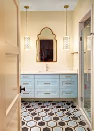 moroccan bathrooms bathroom mediterranean with patterned floor tile texas light blue