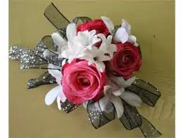 set of white and red wrist corsage pictures romance