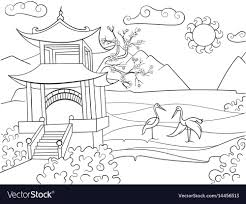 nature coloring book. Plain Book Nature Of Japan Coloring Book For Children Cartoon Vector Image In Coloring Book G