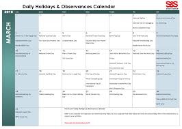 Daily Holiday Observance Calendars For Classroom Activity