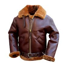 Raf Jacket Size Chart Mens Brown Shearling Bomber Leather Jacket