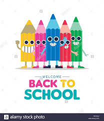 Children Education Cartoons Welcome Back To School Illustration With Happy Color Cartoons Pencil