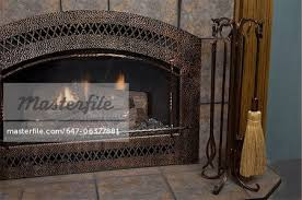 fireplaces hammered copper fireplace surround tile copper look tools stock photo