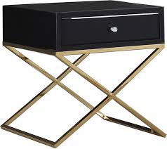 leigh modern black glass end table w crystal knob and gold x steel base
