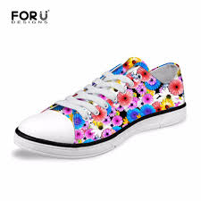 Floral Design Shoes For Ladies Us 29 24 25 Off Forudesigns Fashion Womens Casual Canvas Shoes Floral Design Women Low Vulcanized Shoes Flats Lace Up Shoes For Ladies Teenage In
