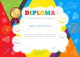 Kids Certificate Border Kids Diploma Or Certificate Template With Colorful And Hand Drawing