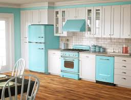 ... kitchen Large-size Quirky Contemporary Kitchen Color Idea Using Blue  And White Scheme Brick Backsplash ...