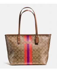 Coach Signature Varsity Stripe Large City Tote Khaki Brown Watermelon Zip  Top  Coach  TotesShoppers