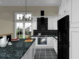 black side by side refrigerator subway tile backsplash granite countertop white island can cabinets teapot and cup sets gray pendant lights small kitchen
