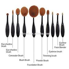 personalized oval shape black tooth brush cosmetic makeup brushes 10 pieces set make up brush cleaner carbon brush for drill make up brushes oval