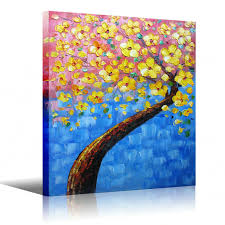 palette knife painting yellow tree wall decor flower oil painting on canvas yellow blue artwork for