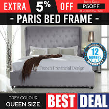 Details about Bed Frame Queen Grey Provincial Wooden Slat Fabric ...