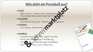 Pr Sentation Wie Schreibe Ich Ein Protokoll Deutsch Lehreralltag