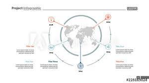 Five World Map Items Process Chart Slide Template Business Data