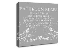 Bathroom Canvas Prints Simple On Intended Rules 2 Grey White Text Quotes  Square Panel 17
