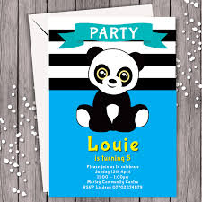 Personalised Birthday Invitations For Kids 10 Panda Blue Personalised Birthday Party Invitation Kids