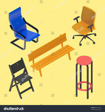 isometric office furniture vector collection. chair armchair stool bench furniture vector isometric set interior collection element office r