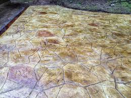 stained stamped concrete patio. Acid Stained Large Random Flagstone Stamped Concrete Patio With A . L