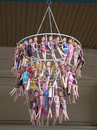 chandelier made from old barbie dolls