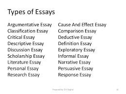 writing good essays prepared by d k singhal 9 10 types of essays argumentative
