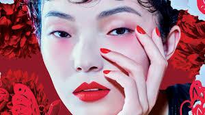 m a c lucky red makeup collection model