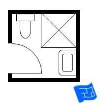 small bathroom floor plan with standard shower