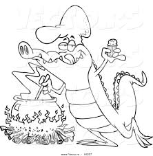 Small Picture Vector of a Cartoon Gator Making Soup Outlined Coloring Page