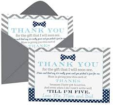 Check spelling or type a new query. Amazon Com Bow Tie Baby Shower Thank You Cards With Envelopes 15 Pack Oh Boy Theme Supplies Navy And Grey Notecard Thanks From Baby Boy A6 Flat Stationery Set Printed 4