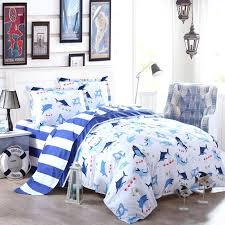 girls full size bedding sets cobalt blue and white shark fish ocean wonders marine life and