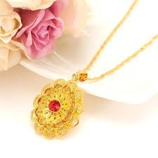 gold flower pendant rhinee crystal pendant gold necklace flower pendant necklace female bijoux jewelry gifts for