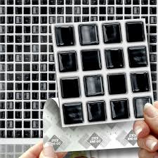Black Mosaic Stick On Wall Tile Stickers Transfers For Kitchens - Kitchens bathrooms