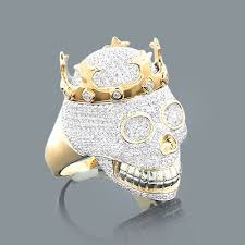 real hip hop jewelry mens diamond skull ring 10k 2 75ct
